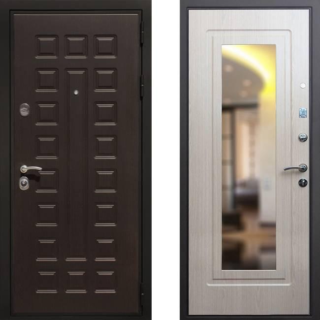 Фото двери ДМ Премиум 3 Зеркало Беленый дуб