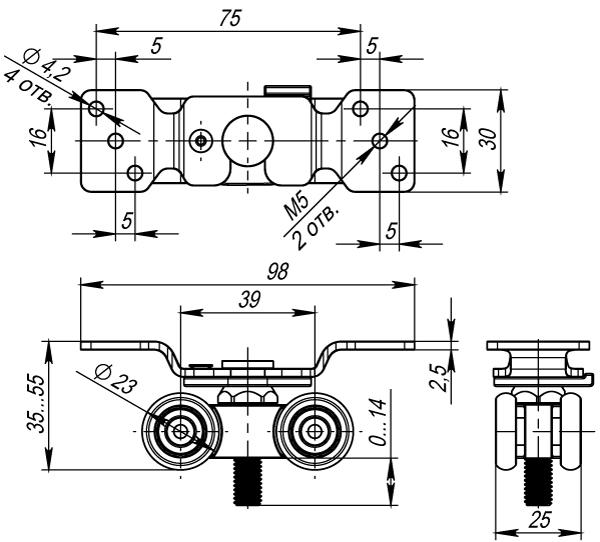 Фото двери Комплект Armadillo (Армадилло) роликов для раздвижных дверей DIY Comfort 60/4 kit (877)