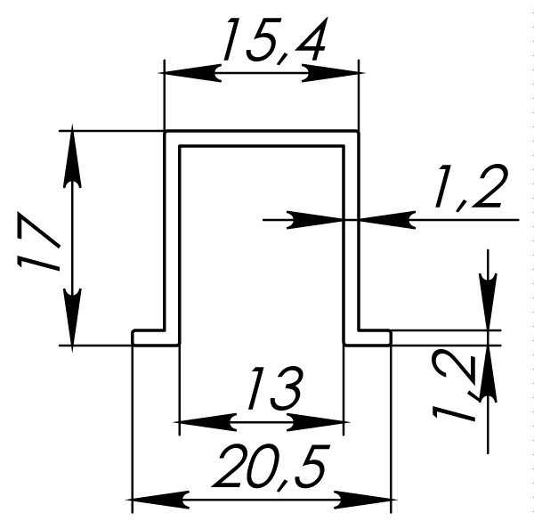 Фото двери Нижняя Armadillo (Армадилло) направляющая DIY Comfort 60/80/1,2/1500 bottom track (1,5 м)(CFG-778)