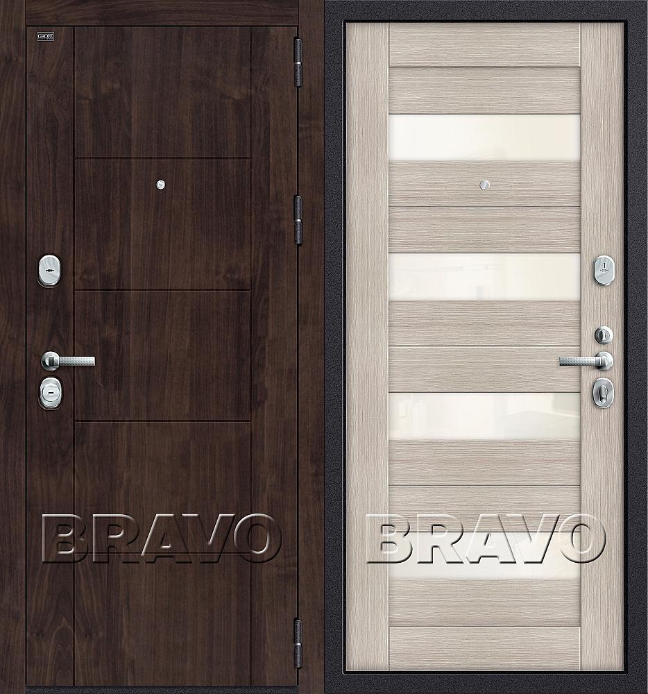 Фото двери T3-223  П-28 (Темная Вишня)/Cappuccino Veralinga