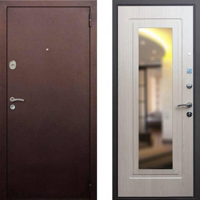 Фото двери ДМ 1А Зеркало Беленый Дуб