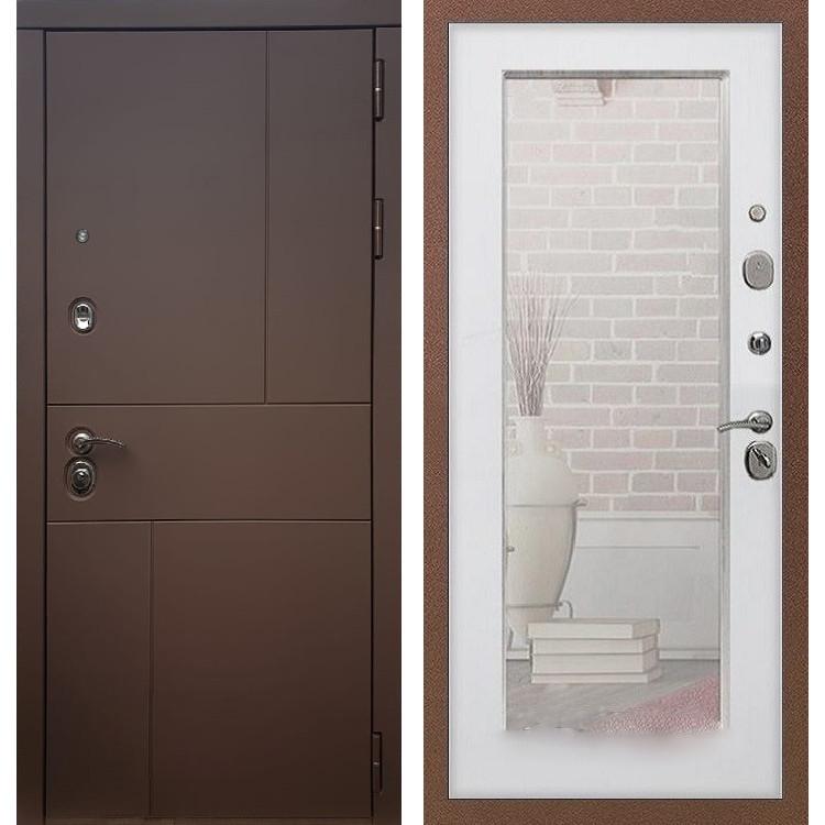 Фото двери ДМ 16 Зеркало пастораль Белый ясень